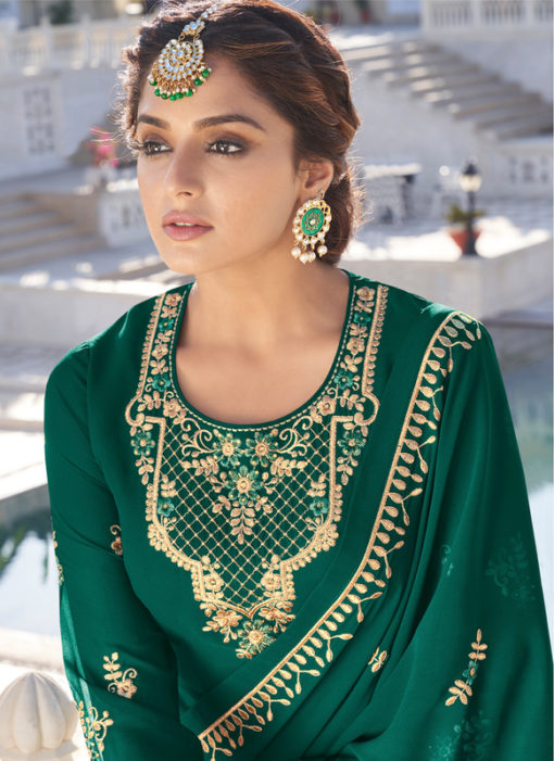 Designer Green Embroidered Work Semi Stitch Georgette Palazzo Suit