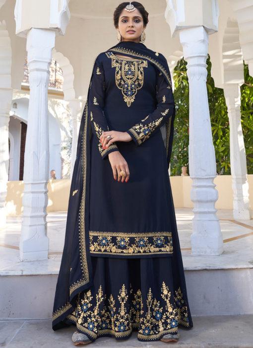 Navy Blue Georgette Designer Embroidered Work Semi Stitch Palazzo Suit