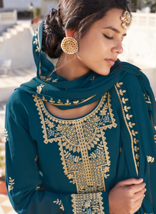 Teal Blue Designer Georgette Embroidered Work Semi Stitch Palazzo Suit