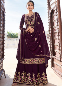 Purple Embrodered Work Georgette Semi Stitch Designer Palazzo Suit