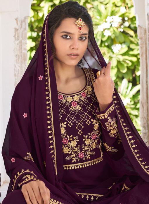 Purple Embrodered Work Georgette Semi Stitch Designer Palazzo Suit