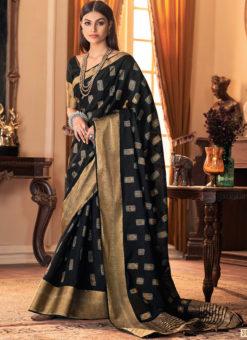 Black Silk Zari Weaving Designer Sangeet Saree