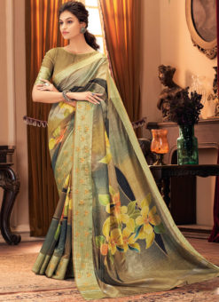 Grey Silk Digital Printed Designer Party Wear Saree