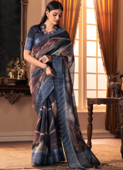 Grey Designer Digital Printed Party Wear Silk Saree