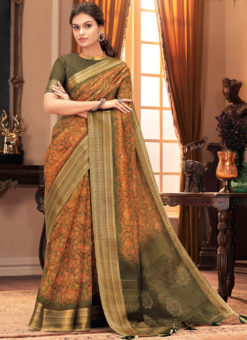 Orange Designer Printed Casual Wear Silk Saree