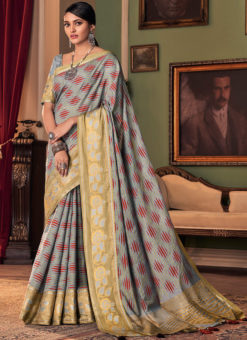 Designer Grey Printed Party Wear Silk Saree