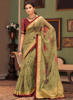 Green Designer Digital Printed Party Wear Silk Saree