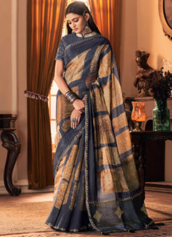 Printed Grey Casual Wear Silk Saree