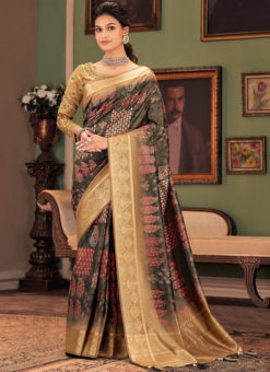 Multicolor Printed Silk Designer Party Wear Saree