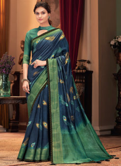 Blue Silk Designer Digital Printed Party Wear Saree