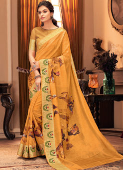 Yellow Digital Printed Designer Traditional Silk Saree