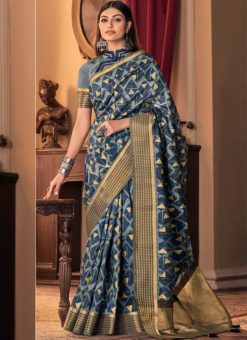 Floral Printed Designer Silk Designer Blue Saree