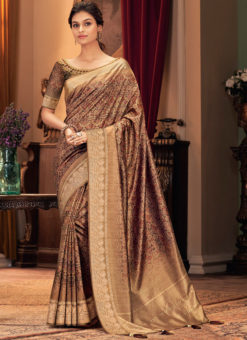 Purple Silk Designer Printed Party Wear Saree