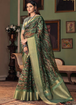 Green Silk Designer Digital Printed Party Wear Saree