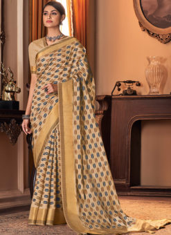 Cream Silk Printed Designer Traditional Saree