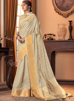 Offwhite Designer Silk Printed Party Wear Saree