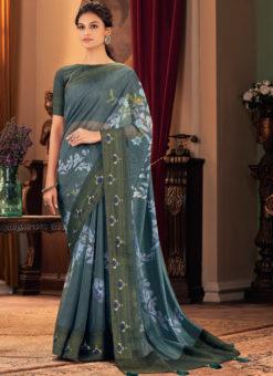 Silk Designer Digital Flower Printed Blue Party Wear Saree
