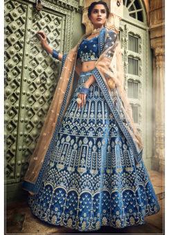 Blue Velvet Zari Work Designer Bridal Lehenga Choli