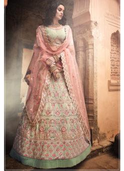 Pista Green Georgette Zari Work Designer Bridal Lehenga Choli