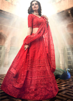 Red Soft Net Thread Work Designer Wedding Lehenga Choli