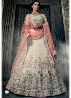 Off White Thread Wrok Designer Georgette Bridal Lehenga Choli