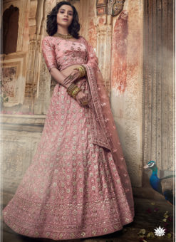 Pink Satin Gota Work Designer Wedding Lehenga Choli