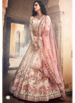 Off White Organza Sequins Designer Wedding Lehenga Choli