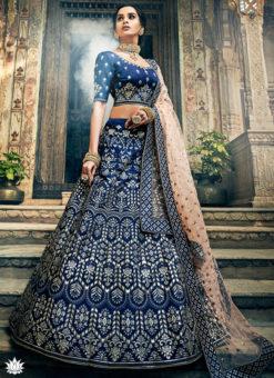 Navy Blue Art Silk Gota Work Designer Wedding Lehenga Choli