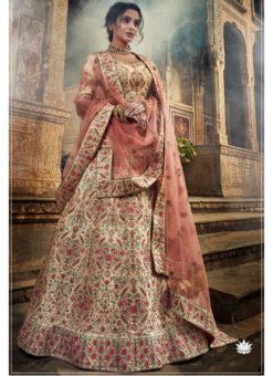 White Art Silk Thread Work Designer Wedding Lehenga Choli