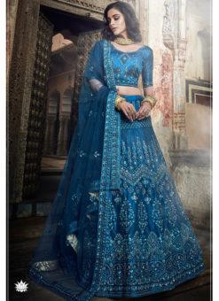 Blue Art Silk Sequins Work Designer Bridal Lehenga Choli