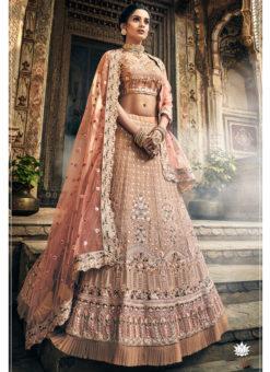 Pink Georgette Zari Work Bridal Designer Lehenga Choli