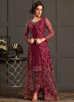 Magenta Net And Satin Designer Gliter Embroidered Work Salwar Suit