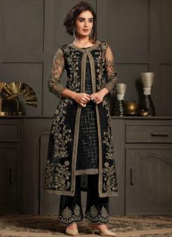 Black Net And Satin Gliter Embroidered Work Designer Salwar Suit