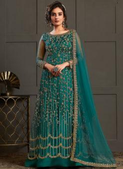 Rama Green Net And Satin Gliter Embroidered Work Designer Salwar Suit