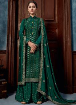 Green Handwork Chinnon Designer Party Wear Palazzo Suit