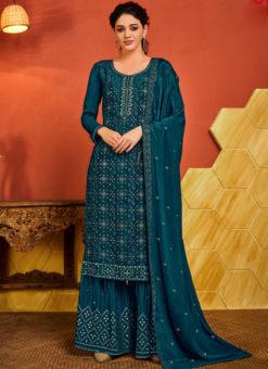 Blue Chinnon Designer Handwork Party Wear Palazzo Suit