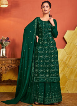 Green Designer Chinnon Party Wear Handwork Palazzo Suit