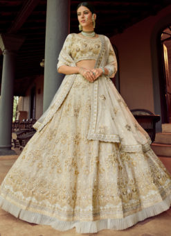 Off White Georgette Designer Embroidered Work Wedding Lehenga Choli