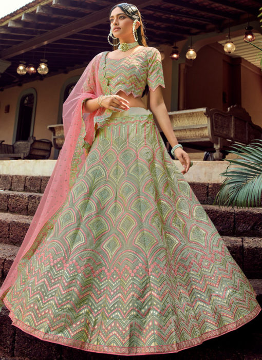 Green Designer Georgette Embroidered Work Wedding Lehenga Choli