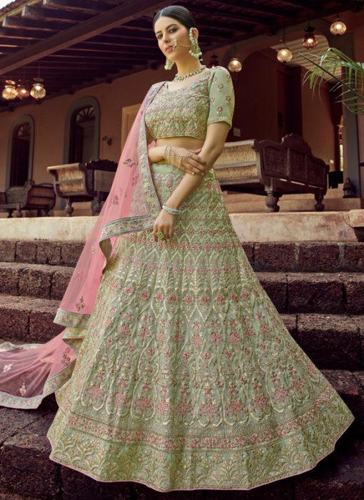 Embroidered Work Green Designer Georgette Wedding Lehenga Choli