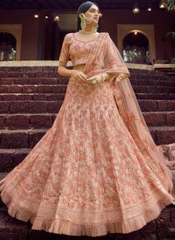 Peach Georgette Wedding Embroidered Work Designer Lehenga Choli