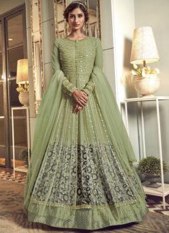Swagat Green Net Embroidered Work Designer Floor Length Anarkali Suit