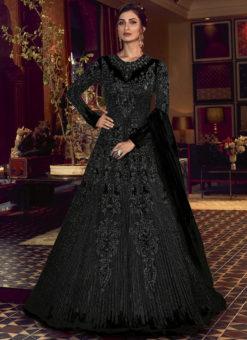 Swagat Black Net Embroidered Work Designer Floor Length Anarkali Suit