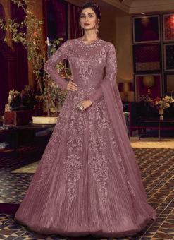 Swagat Lavender Embroidered Work Designer Floor Length Net Anarkali Suit