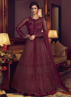 Swagat Wine Net Embroidered Work Designer Floor Length Anarkali Suit