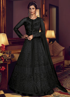 Swagat Net Embroidered Work Designer Floor Length Black Anarkali Suit