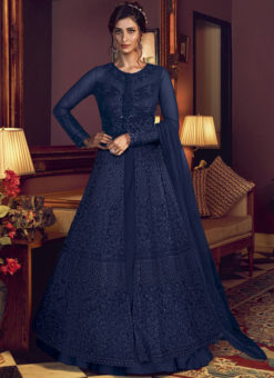 Swagat Blue Net Embroidered Work Designer Floor Length Anarkali Suit