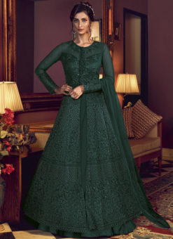 Swagat Net Embroidered Work Green Designer Floor Length Anarkali Suit