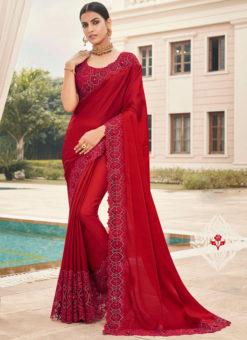 Red Silk Embroidered Work Border Designer Saree