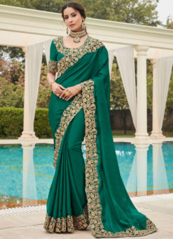 Green Silk Embroidered Work Broder Designer Saree